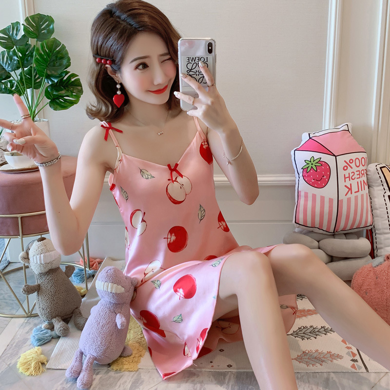 371 # [According To Feminine] 2019 New Products Imitated Silk Fabric Strapped Dress M --Xxl #