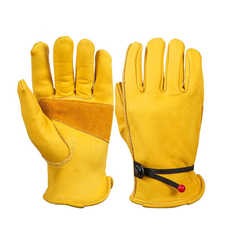 2020 New Yellow Work Drivers Gloves Gardening Household Work Cowhide Leather Safety Working Glove Men Women Woodworking Mittens