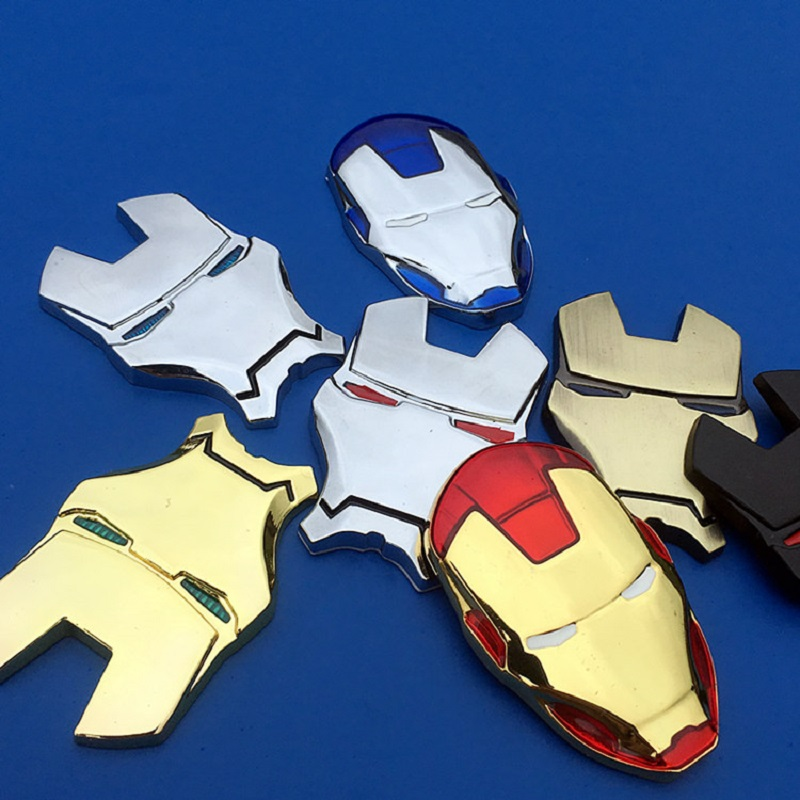 3D Chrome Metal Iron Man for Car Emblem Stickers Decoration The Avengers Decals Exterior Accessories Silver Gold Car Styling-in Car Stickers from Automobiles & Motorcycles