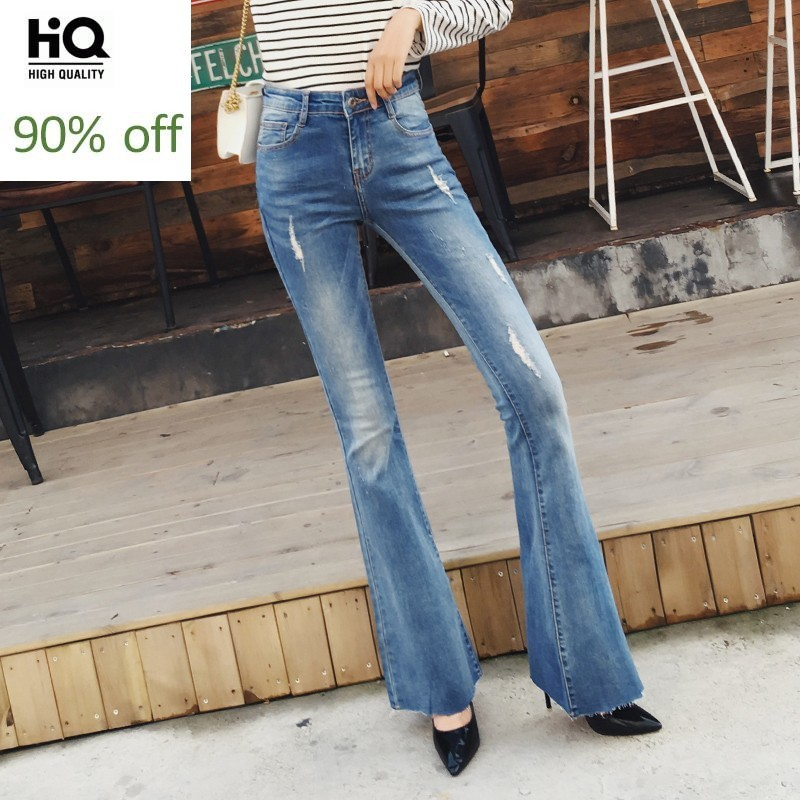Elegant Vintage Spring Autumn Womens Denim Flares Pants Fashion Washed Hole Ripped Stretch Slim Fit Female Full Lenght Trousers