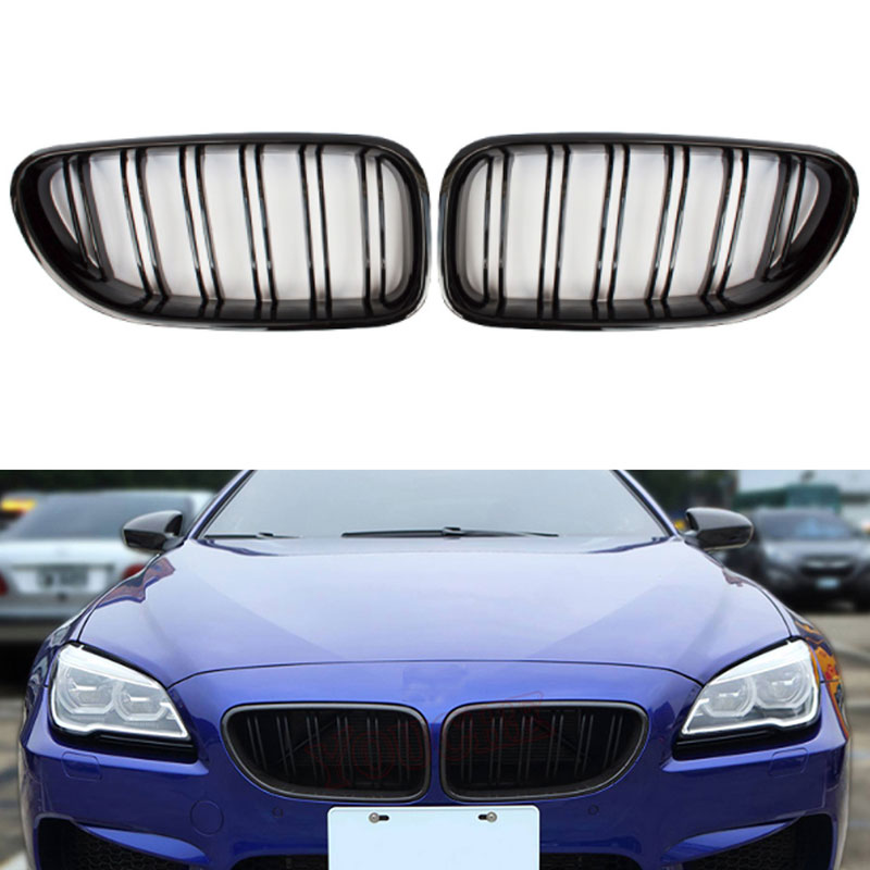2pcs Car Style Gloss Black Front Kidney Double Slat Grill Grille For BMW 6 Series Gran Tourer 640i 650i Black Grill 2012 16 Racing Grills     - title=
