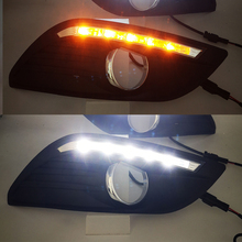 Car Flashing 1Pair DRL For Ford Focus Sedan Daytime Running Lights LED Fog head Lamp cover Daylight with Yellow turn signal