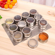 6pcs Stainless Steel Storage Bottles Visible Spice Condiment Storage Box Dustproof Seasonings Container Organizer Spice Tool Box