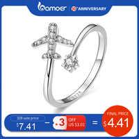 Bamoer genuíno 925 prata esterlina voar avião aberto dedo anéis para as mulheres claro cz ajustável anéis de jóias finas bijoux scr623