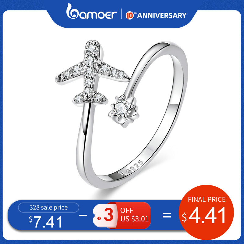 Bamoer Genuine 925 Sterling Silver Flying Plane Open Finger Rings For Women Clear CZ Adjustable Rings Fine Jewelry Bijoux SCR623