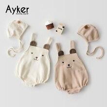 Одежда для малышей комбинезоны для новорожденных, комбинезон для маленьких девочек г., осенне-зимняя милая детская одежда для близнецов с шапкой