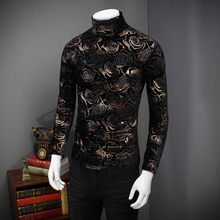 2020 New Black Gold Rose T-Shirt Men Autumn Winter Turtleneck Men Slim Fit Long Sleeve Floral Printed Thick Warm Tees Tops Homme(China)