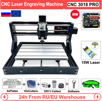 Mini CNC 3018 PRO 15W Laser Router Machine Engraver GRBL Software for stainless steel stone