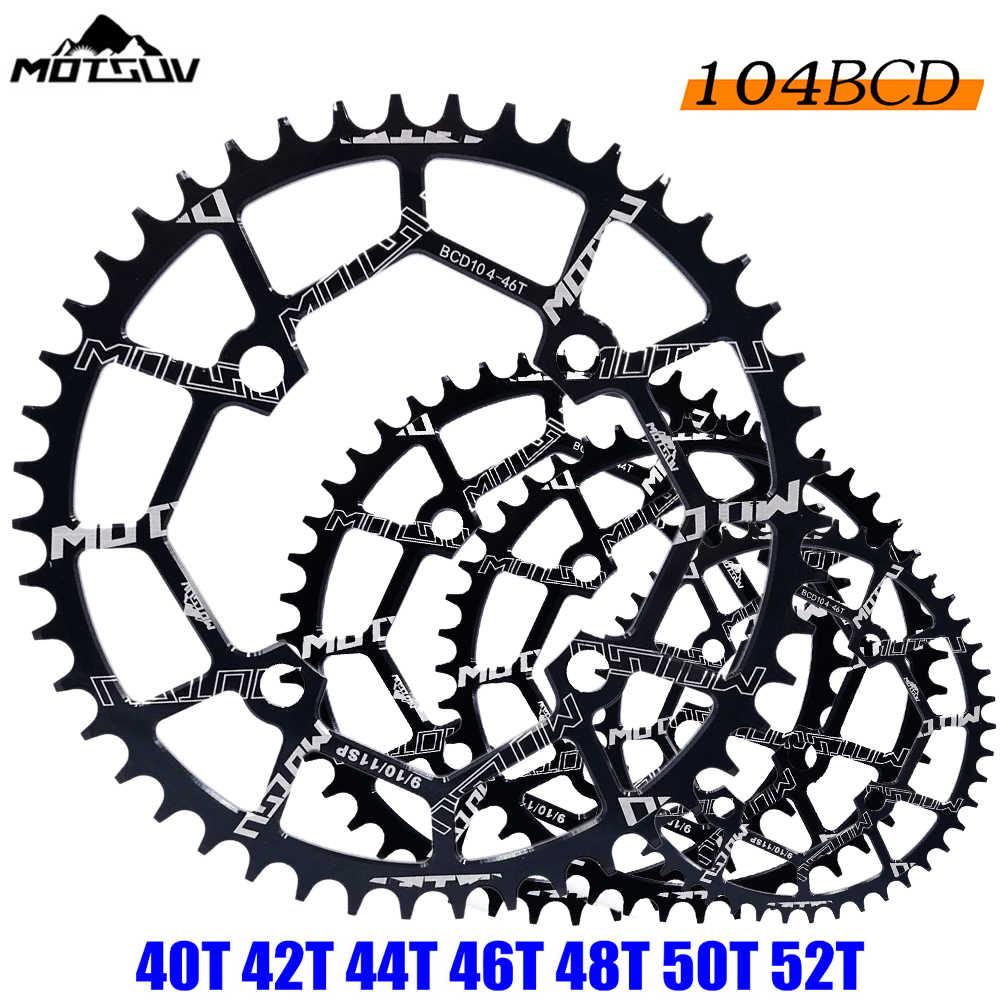 MOTSUV จักรยาน Crank 104BCD 40/42/44/46/48/50/52T Mountain จักรยาน chainwheel MTB จักรยาน crankset อลูมิเนียม Chainring จักรยานอะไหล่