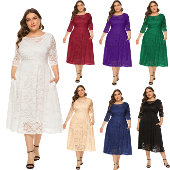 Plus Size Lace Evening Dress A-line Tea-length Dress with Pockets for Party vestidos de fiesta de noche Half Sleeve Family Party blazer sashes puff sleeve suits long blazers dress women vestidos de fiesta de noche vestidos party dress women