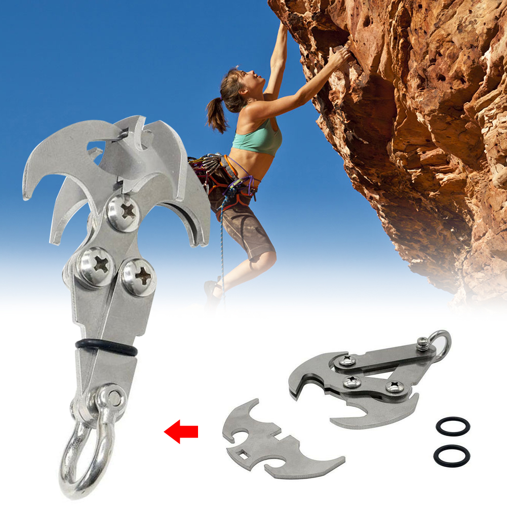 Stailess Steel Outdoor Survival Rock Climbing Claw Grappling Hook Carabiner