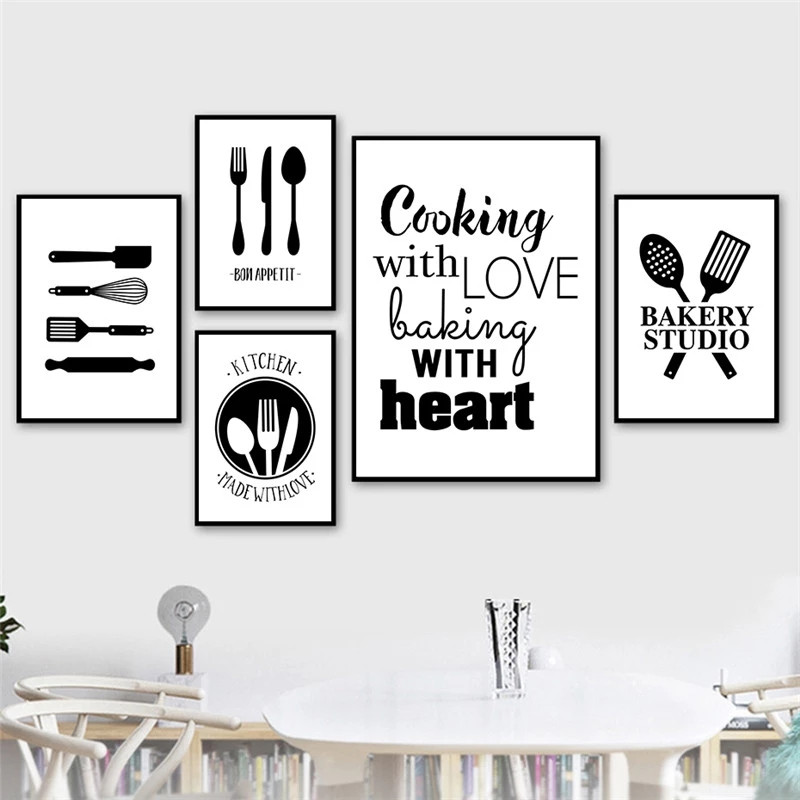 Black White Cooking With Love Kitchen, Dining Room Wall Decor Canvas