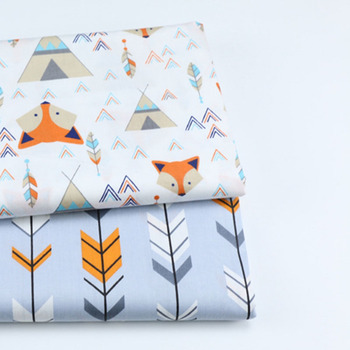 2PCS Dinosaur, Fox Cartoon Twill Printed 100% Cotton Fabric For Baby Sewing Quilting Fat Quarters Child DIY Patchwork Fabric 4