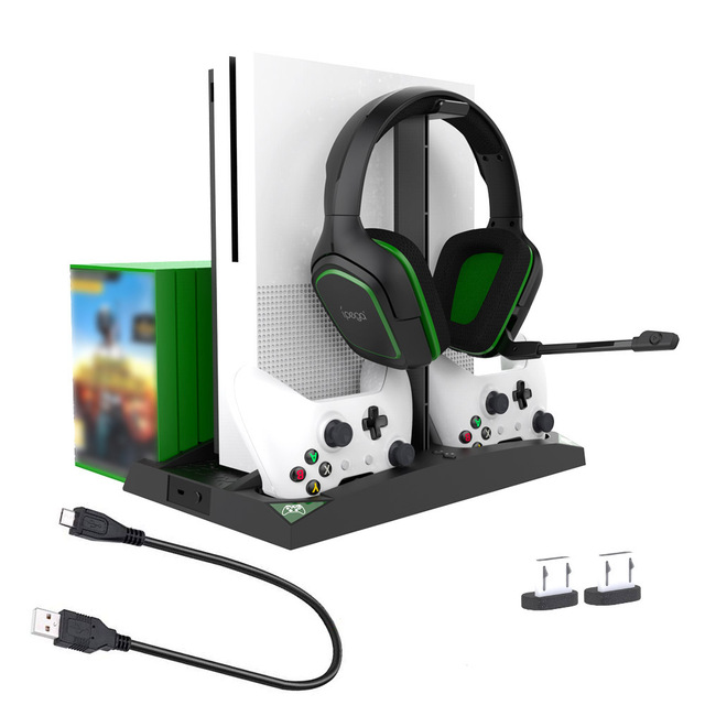 IPEGA Game Vertical Stand 6 in 1 Multifunctional Cooling Fan Headphone Holder Charging Base for XBOX ONE/XBOX ONE X/XBOX ONE S 4