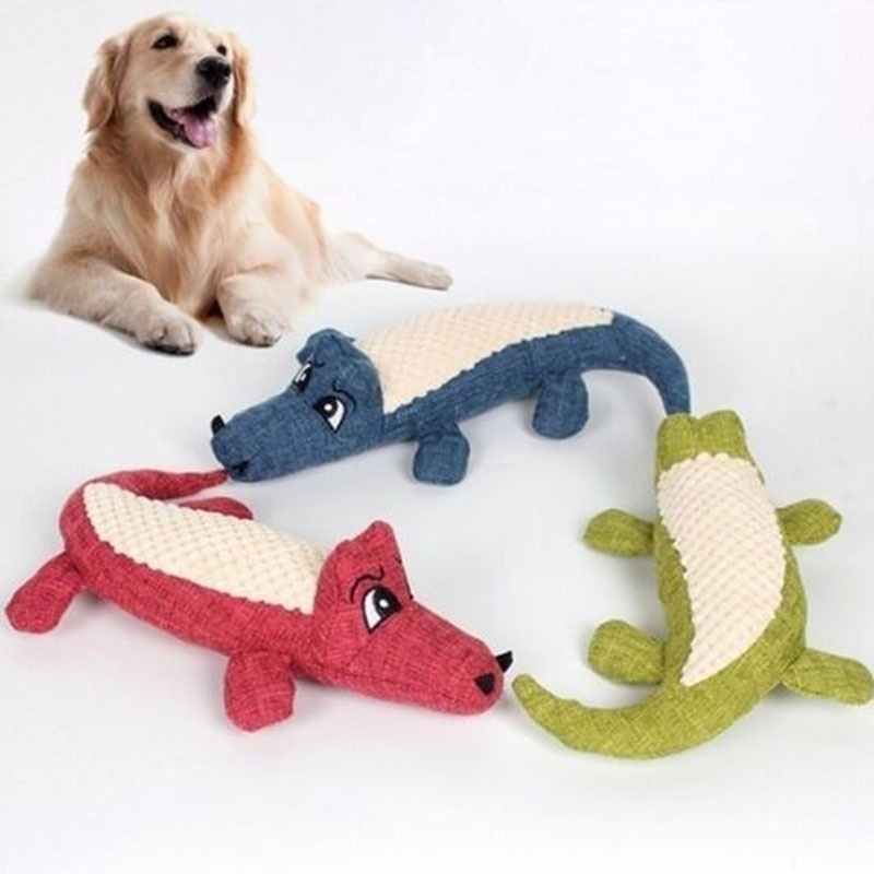 Pet Dog Toy Linen Plush Crocodile Animal Toy Dog Chew Squeaky Noise Toy Cleaning Teeth Supplies Toy Tough Interactive Doll 1PC 13