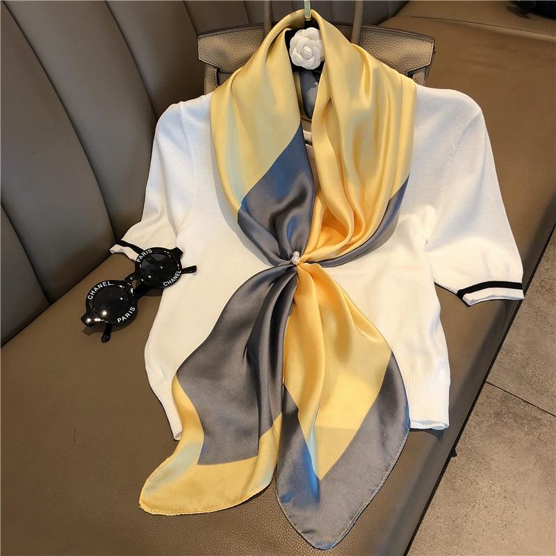 Ladies Fashion Patchwork Color Large Shawl Wrap Hijab Women  Echarpe Bandana Neckerchief  90x90cm Square Plain Silk Scarves