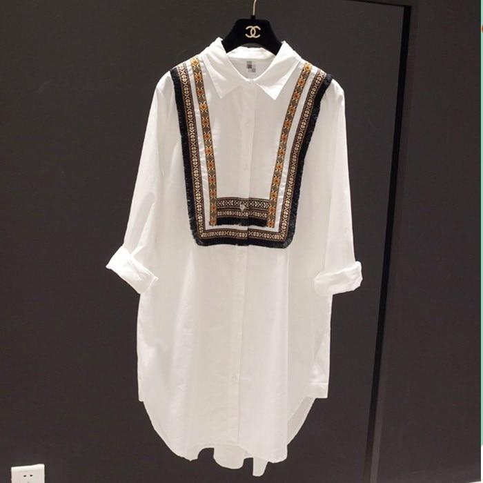 Loose Casusl Shirt Plus Size 2020 New Spring National Wind Women Shirts Long Sleeve Cotton White Black Pring Blouse Shirt 23E