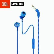 Jbl live100 3.5mm com fio fones de ouvido ao vivo 100 estéreo com microfone controle linha handsfree esportes fone som graves profundos fones