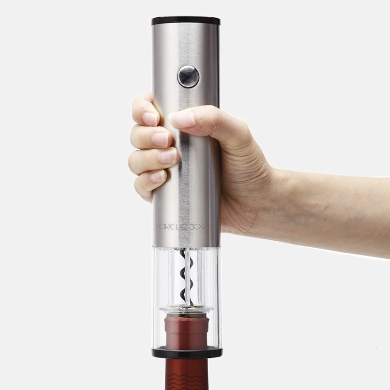 Original Circle Joy Automatic Red Wine Bottle Opener Stainless Steel Electric Corkscrew Foil Cutter Base Cork Out Tool