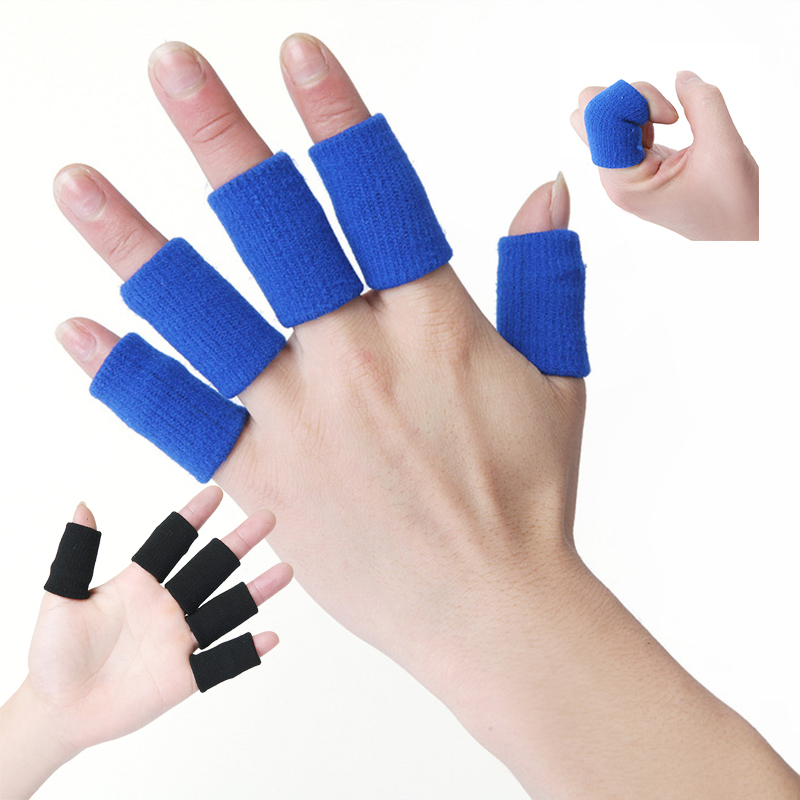 Nylon Stretchy Finger Protector Sleeve 10 PCs Support Arthritis Aid Straight Wrap To Reduce Hurts For Basketball Rock Climbing