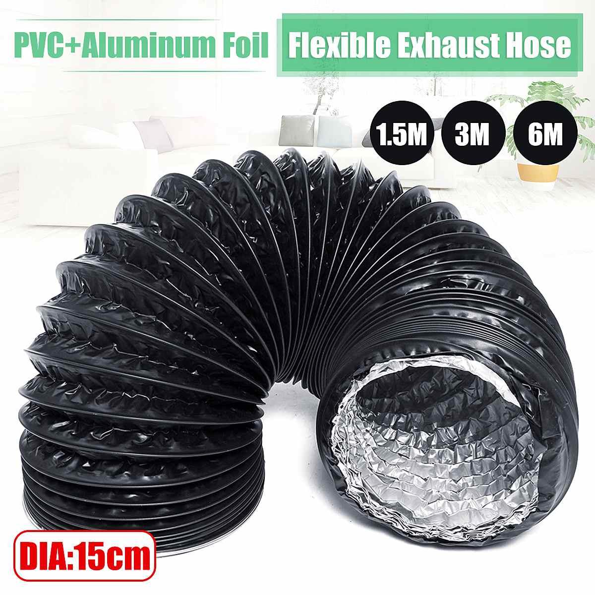 Flexible Exhaust Tube DIA 15cm 1.5M/3M/6M PVC Aluminum Air Ventilation System Ventilator Hose Pipe Kitchen Bathroom Accessories