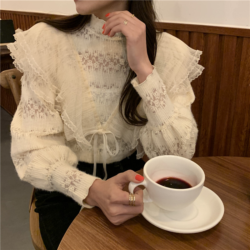 Hb11e8b9291554a67b8fe9ee48267f4e1L - Spring / Autumn Stand Collar Long Sleeves Ruffles Lace-Up Blouse