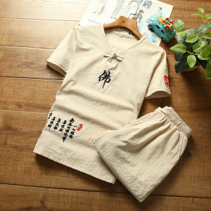 T-Shirt-Set Linen Retro Cotton Casual Summer Word Buddha New-Products Embroidered Men