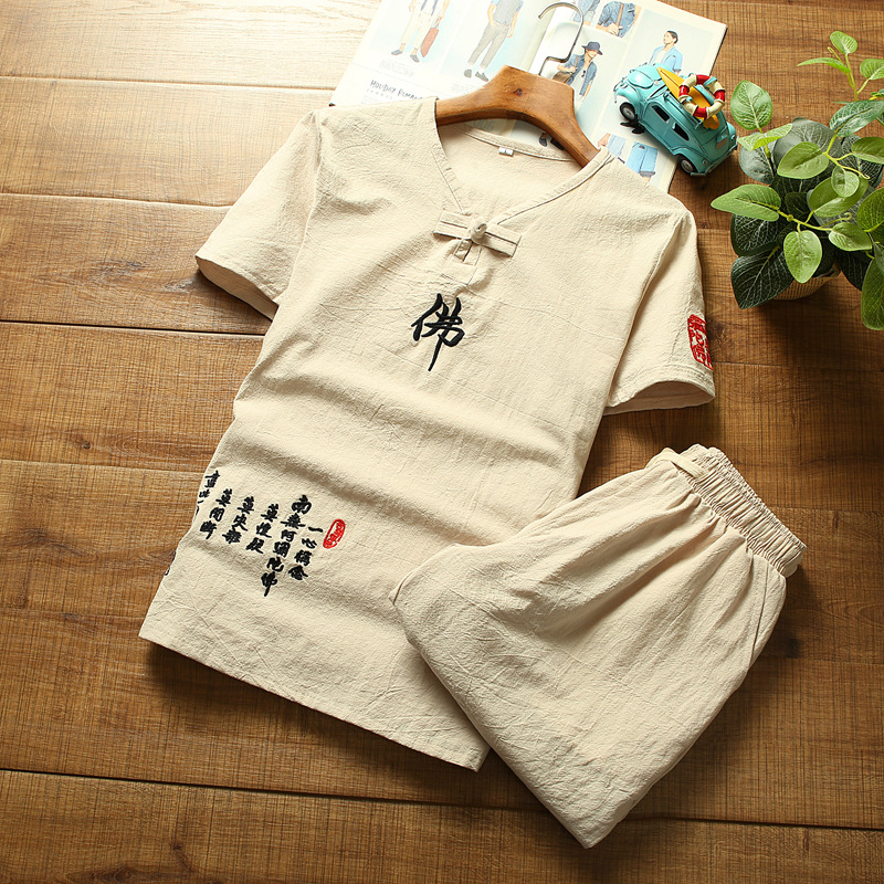2020 Summer New Products Men Cotton Linen T-shirt Set Retro Casual Word Buddha Embroidered T-shirt Two-Piece Set
