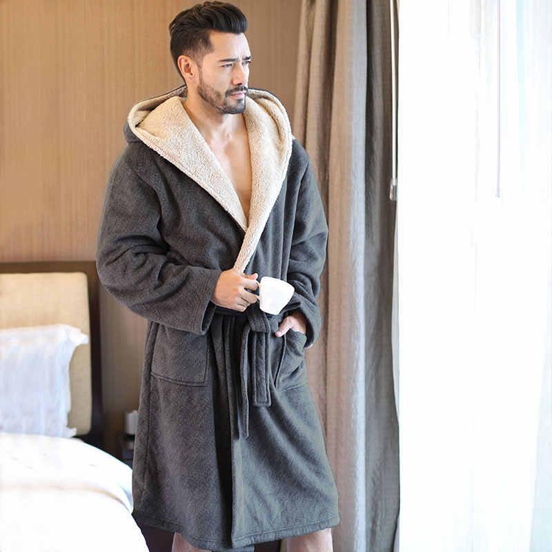 2019 新冬メンズバスローブがフード付きフランネルロングバスローブ男性快適グレーロングホーム暖かいドレッシングガウン Vs Tmall