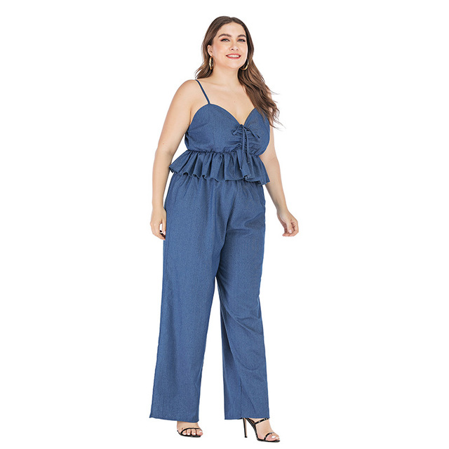 2019 new summer plus size sets for women large sleeveless loose casual denim sling tops and pants jumpsuits blue 4XL 5XL 6XL 7XL 2