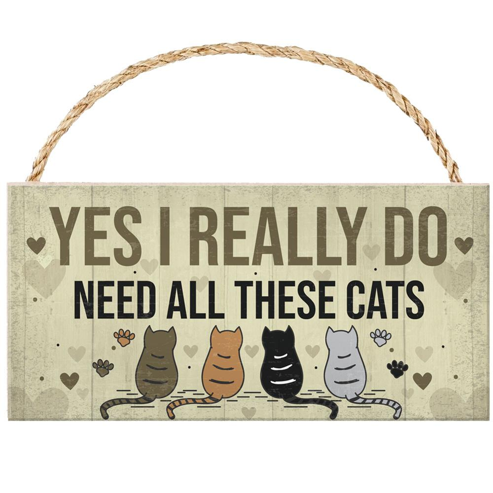 1PC Cats Hanging Plaques Signs Bedroom Plaques Gifts for Pet Sign Cafe Pub Wall Craft Home Wooden Decoration Plaque Cool Plate(China)