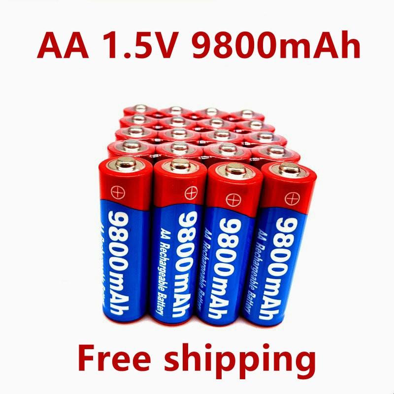 2021 New2 ~ 20 шт./лот брендовая AA перезаряжаемая батарея 9800 мАч 1,5 В новая Щелочная перезаряжаемая батарея для светодиодной игрушки mp3