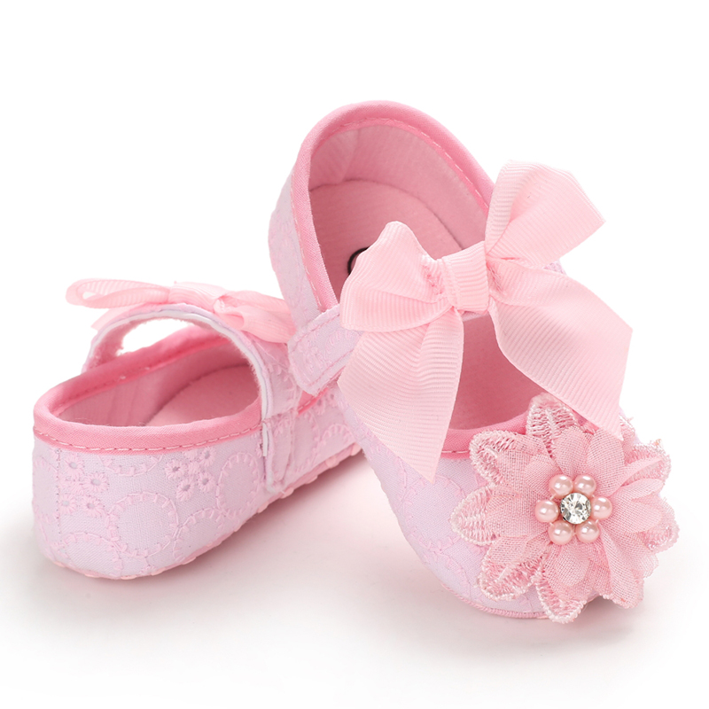 Flower Baby Shoes Baby Girl Soft Shoes Soft Comfortable Bottom Non-slip Fashion Pink Red White Black Bow Shoes First Walkers