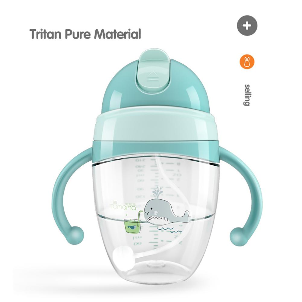 Tumama Portable Baby Dual Handle Water Milk Feeding Straw Cup Duck Mouth Bottle