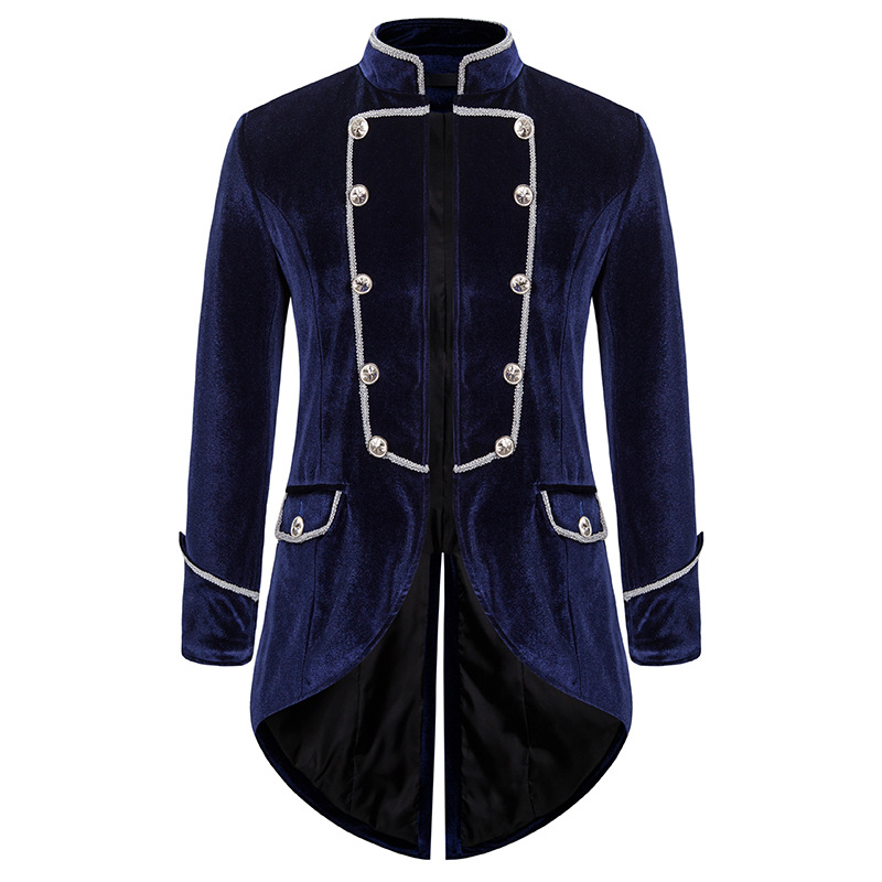 Mens Steampunk Black Tailcoat Jacket Velvet Medieval Gothic VTG Coat Jacket Men Pirate Viking Renaissance Formal Tuxedo Coats
