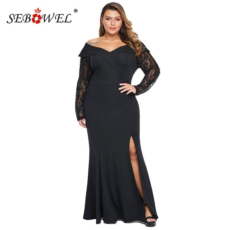 SEBOWEL grande taille femme perlée pure dentelle manches hors épaule robe Maxi longue robe femme noir élégant robes de soirée XL-5XL