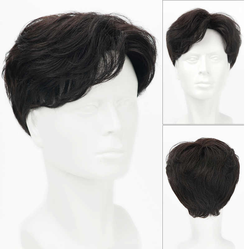 Short Striaght Full Synthetic Wig for Men Male Hair Fleeciness Realistic Wigs natural black dark brown