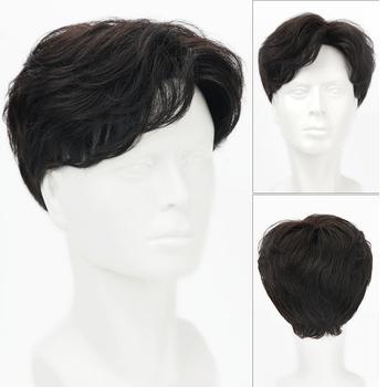 Krótki Striaght pełna peruka syntetyczna dla mężczyzn męskie włosy Fleeciness realistyczne peruki natural black dark brown tanie i dobre opinie AOOSOO HAIR Wysokiej Temperatury Włókna Proste