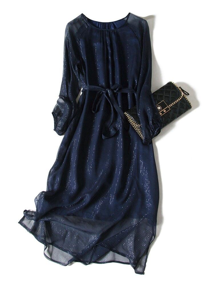 Real Silk Spring Dress 2020 Vintage Elegant Maxi Party Dress Women Clothes High Quality Dresses Long Sleeve Dress Vestidos A8044