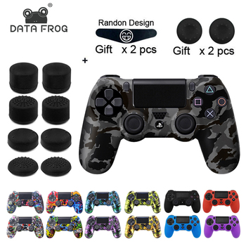 Data Frog Soft Flexible Cover Silicone Case Protection Skin For Playstation 4 PS4 Pro Slim with LED Light Bar Sticker 2pcs Grip