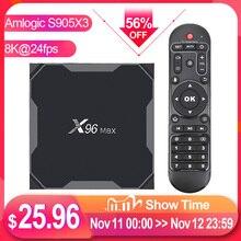 X96最大プラススマートtvボックスアンドロイド9.0 tvボックスamlogic S905X3 tvbox 4ギガバイト64ギガバイトのデュアル無線lan bt 1000メートルH.265 8 18k 24fpsセットトップボックスX96Max