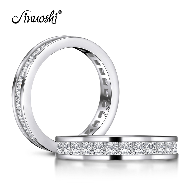 AINUOSHI Fashion 925 Sterling Silver Full Eternity Women Engagement Ring Simulated Diamond Wedding Silver Bridal Rings Jewelry