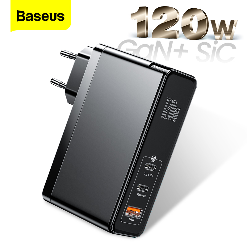 Baseus 120W GaN SiC USB C Charger Quick Charge 4.0 3.0 QC Type C PD Fast USB Charger For Macbook Pro iPad iPhone Samsung Xiaomi 1