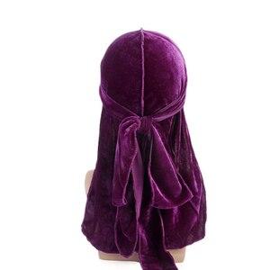 Unisex Velvet Durag do doo du rag Long Tail Headwrap Men Women Breathable Bandana Hat Chemo Cap Solid Color Velvet Bandana Hat