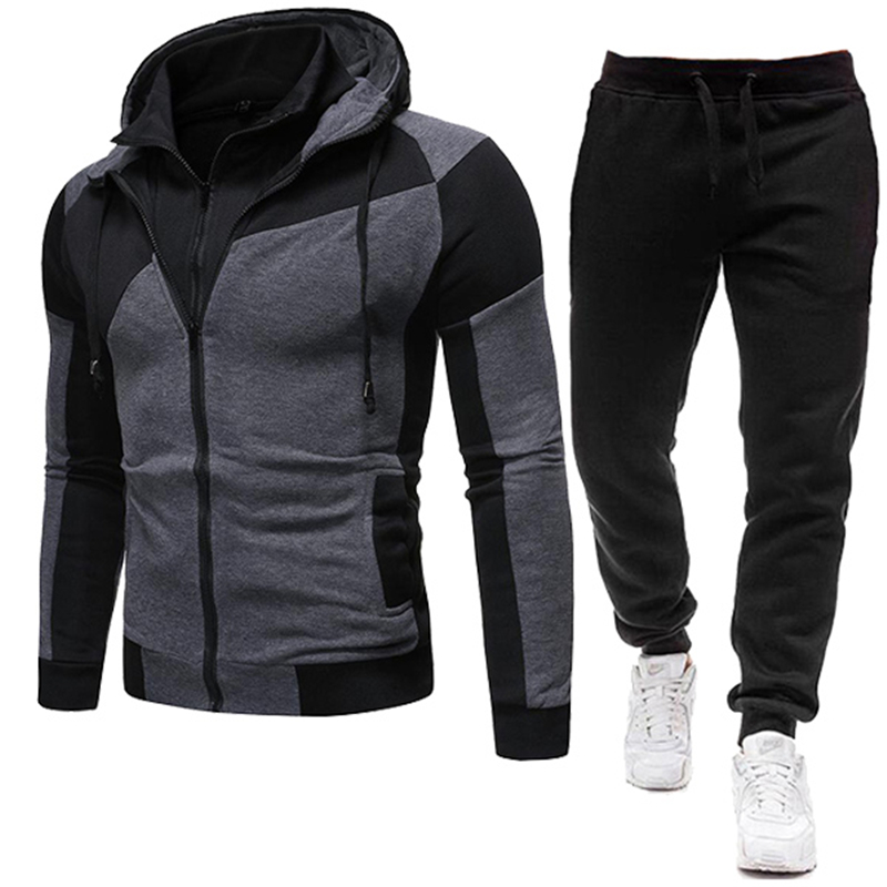 2020 New Autumn Men Tracksuit 2 Piece Sets Hoodies+Pants Sweater Sports Suit Streetswear Jackets 1