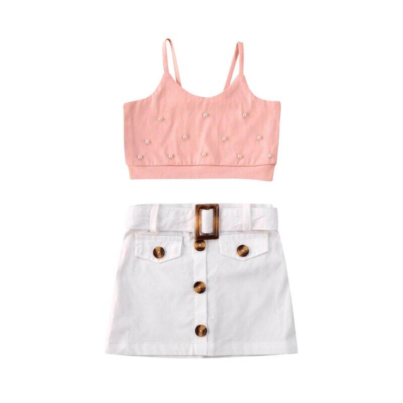 Lovely Kid Babay Girls Crop Tops Short Dress 2pcs Outfit Set Sundress Summer