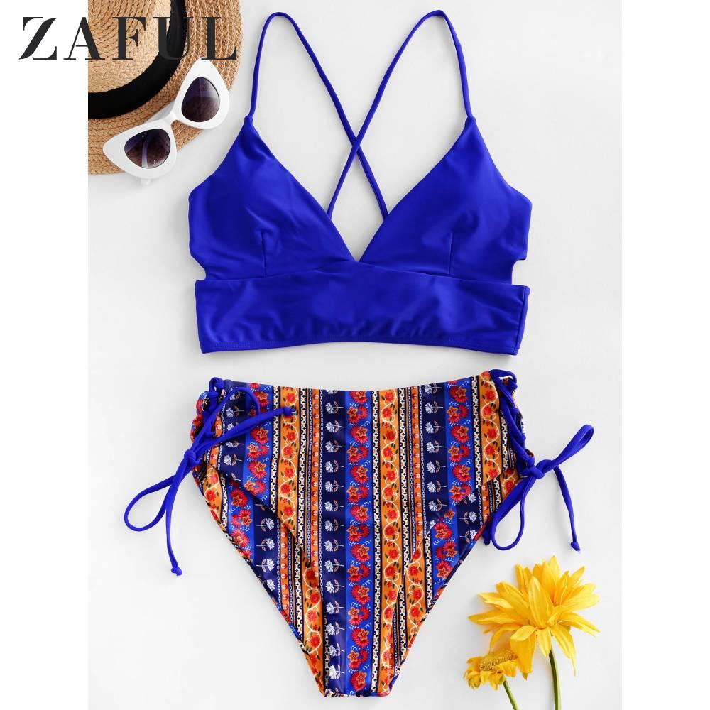 ZAFUL Bohemian Casual Swimwear Women's Boho Lace Up High Waisted Mix And Match Tankini Swimwear Sexy Bikini Set 2020 Two Piece