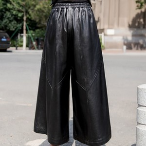 Image 3 - למעלה באיכות עור כבש מכנסיים נשים סתיו חורף Loose רחב רגל מכנסיים Streetwear בציר שחור אלסטי מותניים משרד ליידי מכנסיים