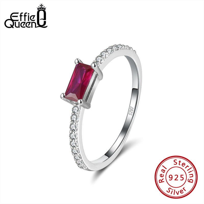 Effie Queen Women's Sterling Silver Ring For Wedding With Red Crystal Stone Square Zircon 925 Silver Rings Jewelry Gift DSR169
