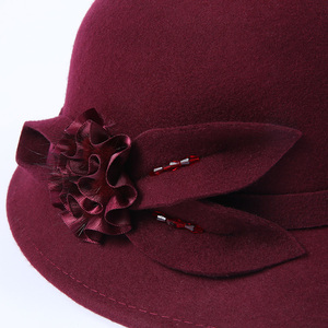 Image 5 - 2019 Winter Lady Chic Flower Fedora Hats Women Party Formal 100% Australia Wool Felt Hat